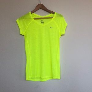 Nike Dri-fit neon yellow reflective workout shirt